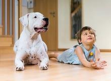 在地板上的逗人喜爱的女性小孩与狗 库存图片