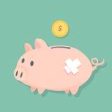 在地板和美元硬币的受伤的存钱罐立场将填装对投币口,逗人喜爱的猪平的设计 免版税库存照片