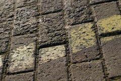 在地板或墙壁上的方形的灰色瓦片 生锈的灰色背景wi 免版税库存照片