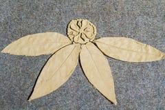在地毯的手工制造黏土花 免版税库存照片