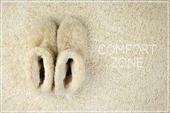 在地毯的拖鞋 舒适范围概念 库存图片