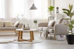在地毯的木桌在长椅前面在简单的客厅int 库存图片