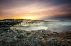 在地热区域的桥梁 图库摄影