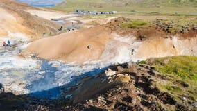 在地热Krysuvik地区上看法,冰岛 免版税库存图片