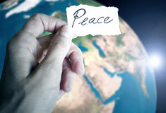 在地球上的和平从空间 免版税库存图片