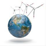 在地球上的风轮机。 3d 图库摄影