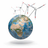 在地球上的风轮机。 3d 免版税库存图片