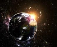 在地球之上的朝阳 库存图片