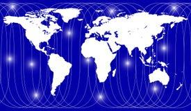 在地球地图的卫星道路 库存照片