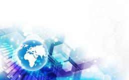 在地球概念背景,传染媒介例证的抽象数字技术连接 免版税库存图片