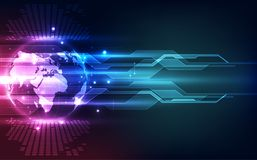 在地球概念背景,传染媒介例证的抽象数字技术连接 免版税库存照片