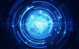 在地球概念背景,传染媒介例证的抽象数字技术连接 库存图片