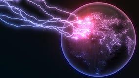 在地球欧罗巴的强有力的雷击支持并且做镇压球形表面上  3d例证 库存例证
