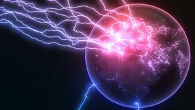 在地球欧罗巴的强有力的雷击支持并且做镇压球形表面上  3d例证 向量例证