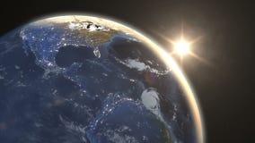 在地球的令人惊讶的日出,在东半球的黎明 库存例证