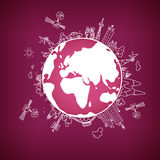 在地球的全球性信息网,传染媒介例证 库存例证