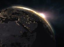 在地球的日出-欧洲 免版税库存照片