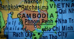 在地球的柬埔寨国家地区地图 影视素材