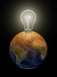在地球的电灯泡 库存照片
