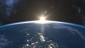 在地球的缓慢的日出 向量例证
