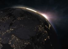 在地球的美妙的日出-欧洲 库存图片