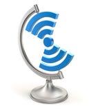 在地球立场的Wifi标志 库存照片