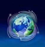 在地球纤维光学行星附近 向量例证