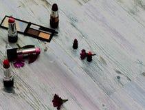 在地球背面的不同的化妆产品与zipispac 一套化妆用品喜欢背景 库存照片