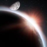 在地球行星之下的朝阳 向量例证
