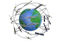 在地球附近怪人围绕卫星无缝的空间墙纸旋转 免版税库存照片