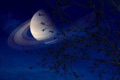 在地球附近的土星在夜空后面剪影干燥树 库存照片