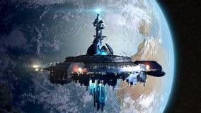 在地球附近的外籍人母舰 库存照片