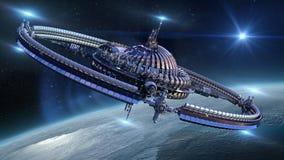 在地球附近的太空飞船轮子 免版税库存图片