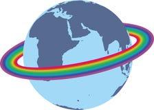 在地球附近的彩虹 库存照片