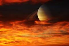 在地球附近的概念土星 免版税图库摄影
