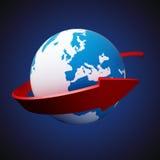 在地球附近的箭头 免版税库存图片