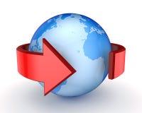 在地球附近的红色箭头。 免版税库存图片