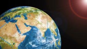 在地球附近的飞机飞行在空间背景 库存例证