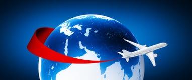 在地球附近的飞机 库存照片