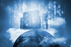 在地球顶部的服务器塔 免版税库存照片