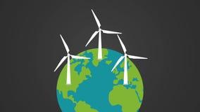在地球HD动画的风轮机 库存例证