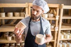 在地窖的乳酪制造商 免版税库存图片