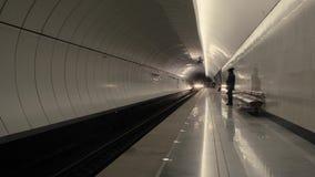 在地铁车站的火车 影视素材