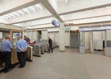 在地铁车站的票门 库存照片