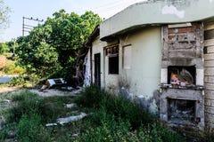 在地震以后的被放弃的区域 免版税库存照片