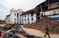 在地震以后的Basantapur Durbar广场 库存图片