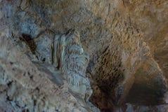 在地面下 钟乳石和石笋在一个地下洞穴-新阿丰洞美丽的景色  神圣 免版税库存图片
