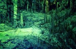 在地面下 钟乳石和石笋美丽的景色在地下洞穴 图库摄影