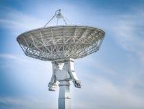 在地面电台的卫星盘与蓝天 库存照片