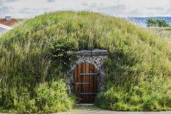 在地面的一个小屋在草下在丹麦 免版税库存图片